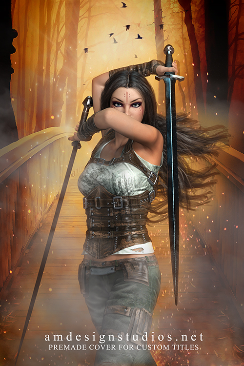 Original Illustration Premade Cover - Fantasy, Apocalypse, Zombies, Warrior Woman, Sword & Sorcery, Epic, Battle!
